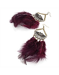 Gold Coloured Purple Feather Earrings