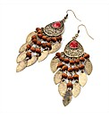 Gold Coloured Red Wood Look Earrings
