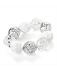 White and Silver Coloured Bead Bracelet