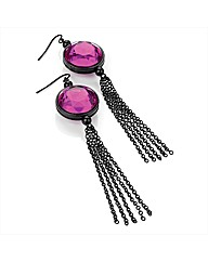 Black & Purple Glass Stone Drop Earrings