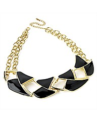 Gold Coloured & Black Enamel Choker