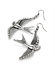 Silver Coloured Bird Shaped Earrings