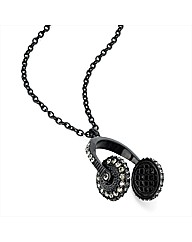Black Enamel Headphone Shaped Pendant