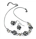Black and Pearl Effect Bead Necklace Set