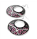 Black & Fuchsia Enamel Round Earrings