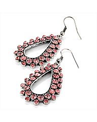 Rose and Silver Coloured Oval Earrings