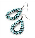 Aqua and Silver Coloured Oval Earrings