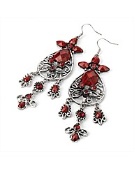 Silver Coloured Red Tone Earrings