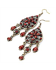 Gold Coloured Red Tone Earrings