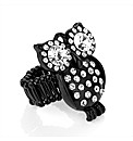Black Enamel Crystal Owl Ring