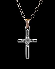 9ct Two Tone Diamond Set Mini Cross