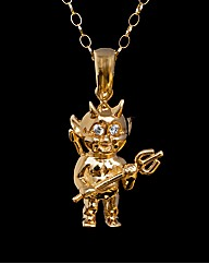 9ct Yellow Gold and CZ Devil Pendant