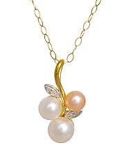 9ct Gold Diamond and Pearl Pendant