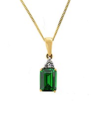 9ct Diamond and Emerald CZ Pendant