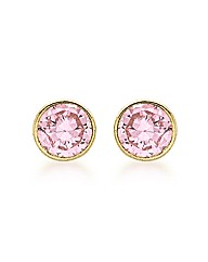 9ct Gold Pink CZ Round Stud Earring