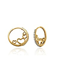 9ct Gold CZ Heart Hoop Earring