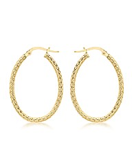 9ct Gold Pattern Hoop Earring