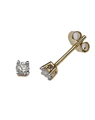9ct Gold Diamond Claw Set Stud