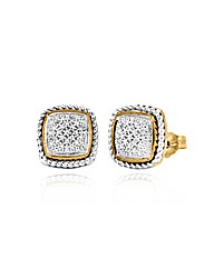9ct Gold 2colour Pave Diamond Studs