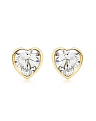 9ct Gold CZ Heart Stud Earring