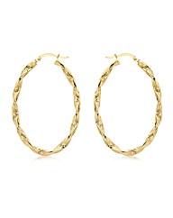 9ct Gold Twist Hoop Earring