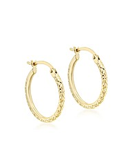 9ct Gold Pattern Creole Earring