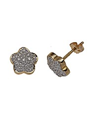 9ct Gold Diamond Flower Stud