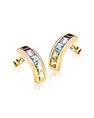 9ct Gold 5 Colour CZ Bar Stud Earring