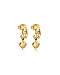 9ct Gold Diamond Huggie Heart Drop