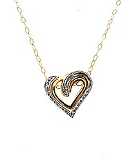 9ct Diamond Set Double Heart Pendant