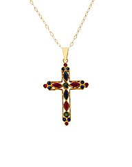 9ct Yellow Gold Multi Stone Cross