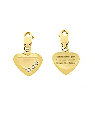 9ct Yellow Gold Heart Message Charm