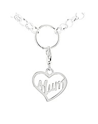 Silver MUM Heart Clip on Charm