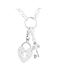 Silver & CZ Lock and Key on Charm Holder