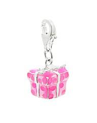 Silver Pink Enamel Gift Box Charm