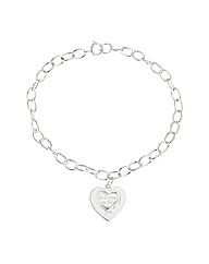 Sterling Silver Sentiment Heart Bracelet