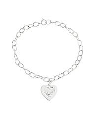 Sterling Silver sentiment heart bracelet