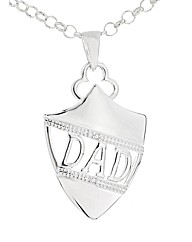 Silver Dad Diamond Set Shield Pendant