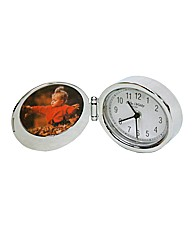 Metal Oval Alarm Clock & Photo - Chrome