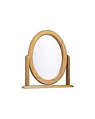 Oak Effect Oval Dressing Table Mirror
