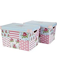 Floral Patchwork Storage Boxes