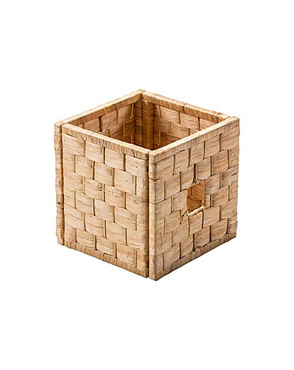 Wicker Basket Storage Cube : Water hyacinth woven cube storage basket j d williams