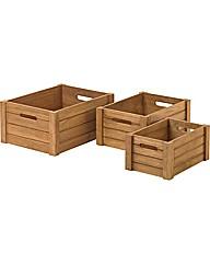Set of 3 Wooden Storage Crates  - Pine