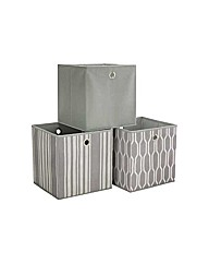 Set of 3 Non Woven Storage Boxes - Grey