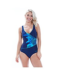 Zoggs Blue Planet Wrap Front Swimsuit