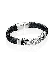 SS Black Enamel/Leather Bracelet
