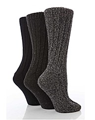 3 Pr  Short Wool Blend Sock