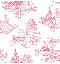 Princess Pink Toile Childrens Wallpaper