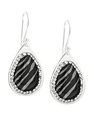 Silver Crystal Zebra Print Earrings