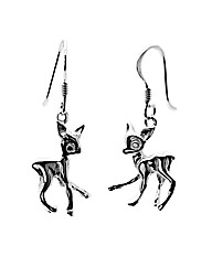 Sterling Silver Cute Deer Drop Earrings